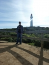 Aireys Inlet, posing in front of the lighthouse